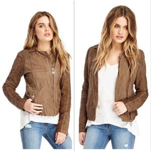Doma Leather Perforated Leather Jacket Camel Small